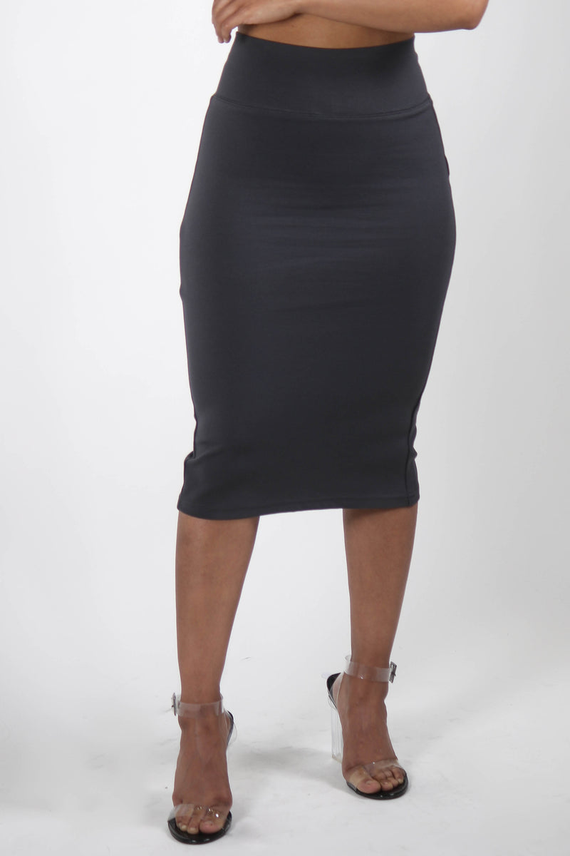 Basic Ponte Pencil Skirt with Back Slit Heather Grey Front