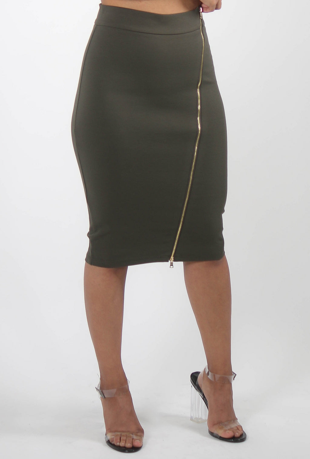 Asymmetrical Zipper Ponte Pencil Skirt
