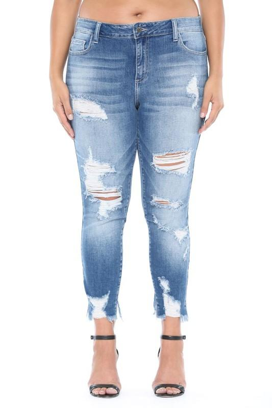 Mid Rise Heavy Distress Cutout Skinny