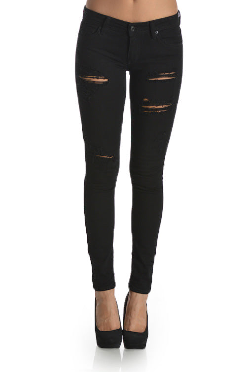 Riot Low Rise Distressed Denim Jeans Black Front