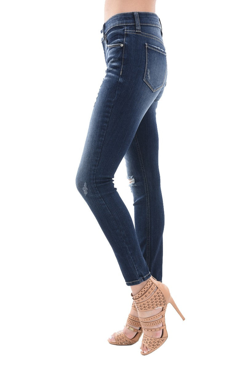 Jude Mid Rise Skinny Distressed Denim Jeans
