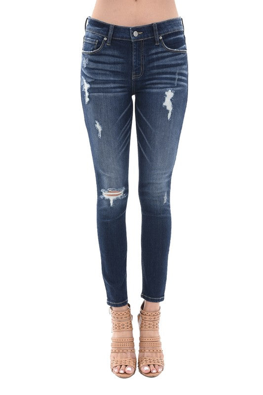 Jude Mid Rise Skinny Distressed Denim Jeans Dark Wash Front