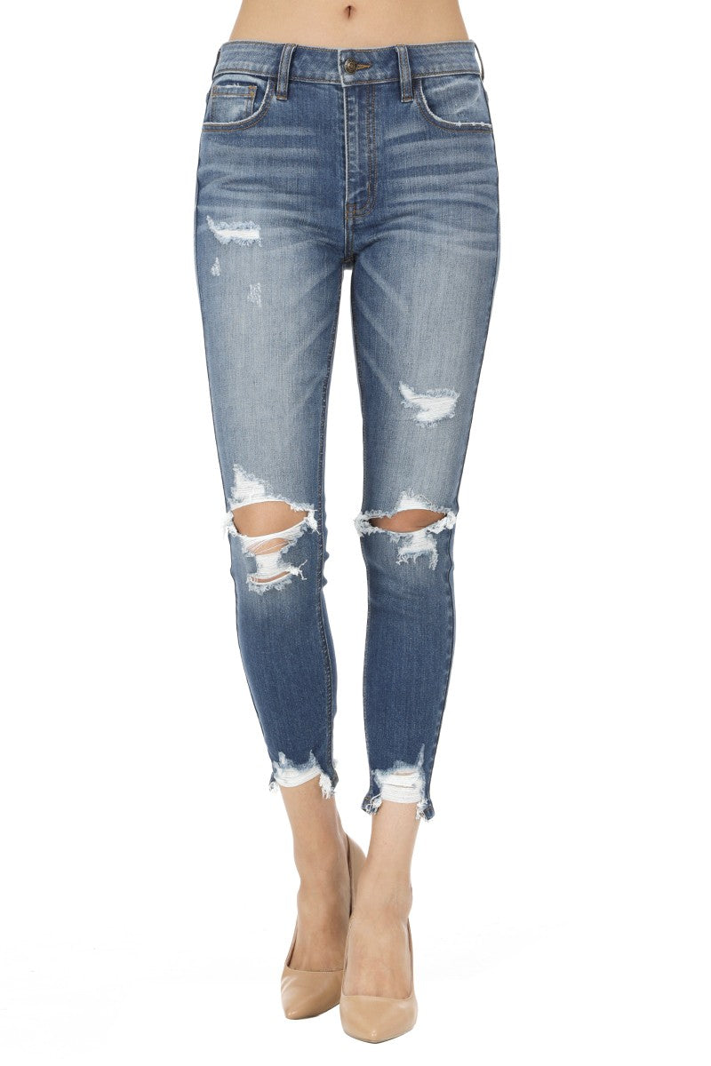 Clara High Rise Skinny Distressed Crop Jean
