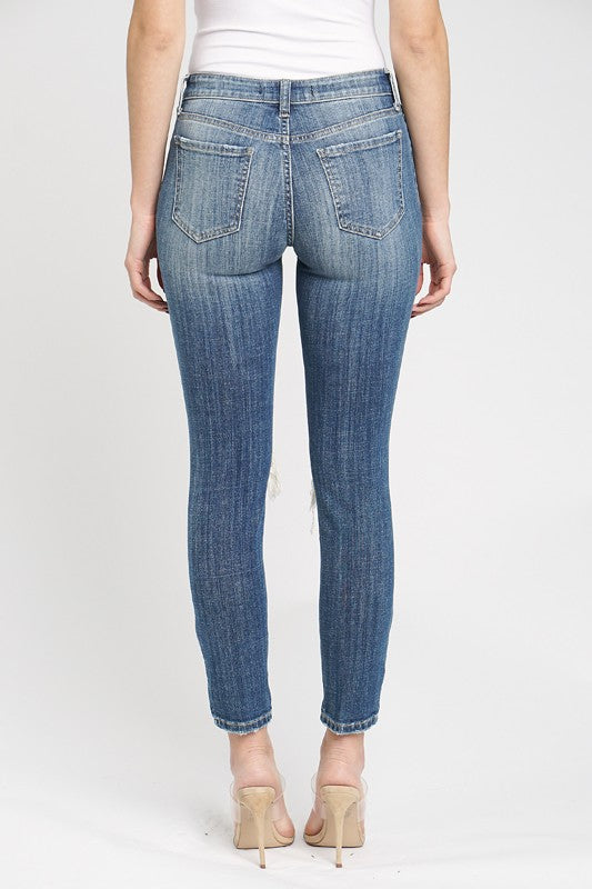 Jude Mid Rise Skinny Ankle Jeans Medium Wash Back