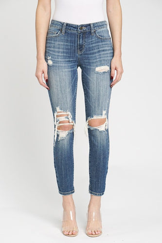 Jude Mid Rise Skinny Ankle Jeans Medium Wash Front