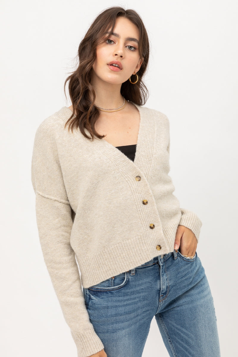 Relaxed Knit Cardigan Button Front