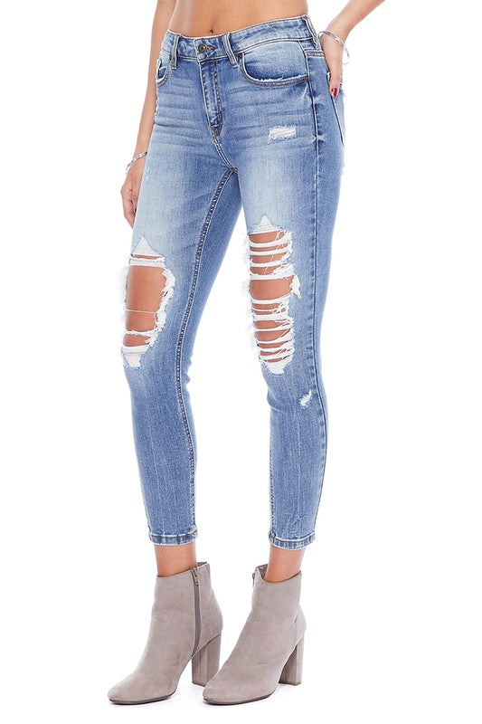 Clara High Rise Busted Out Knee Skinny Jean Side