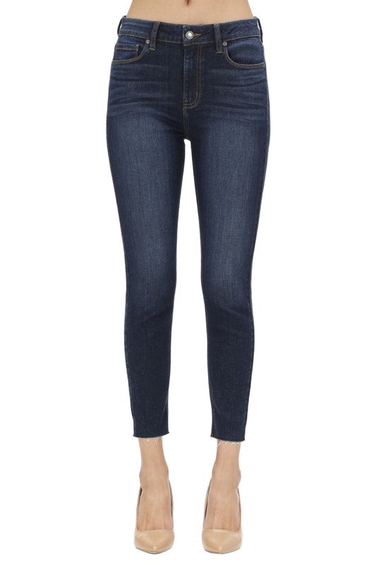 Clara High Rise Cropped Denim Jeans Dark Wash Front