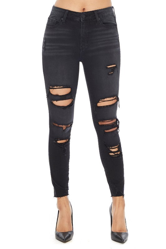 Clara Distress High Rise Skinny Jeans