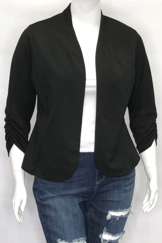 Mandarin Collar Ruched Sleeve Blazer