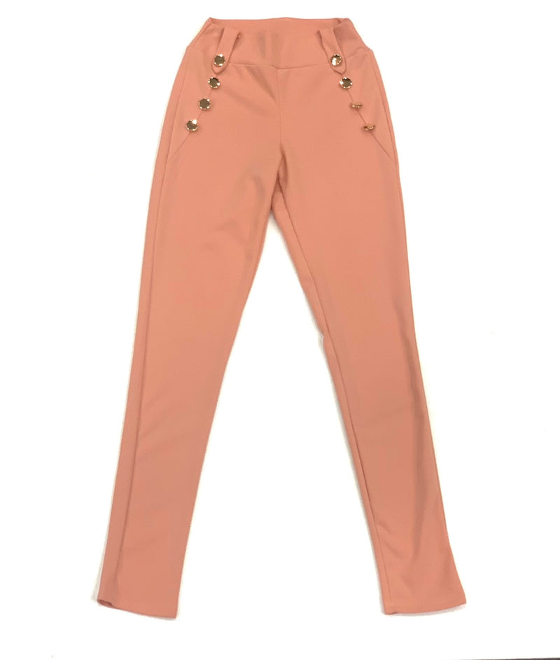 High Waist Button Pocket Pant