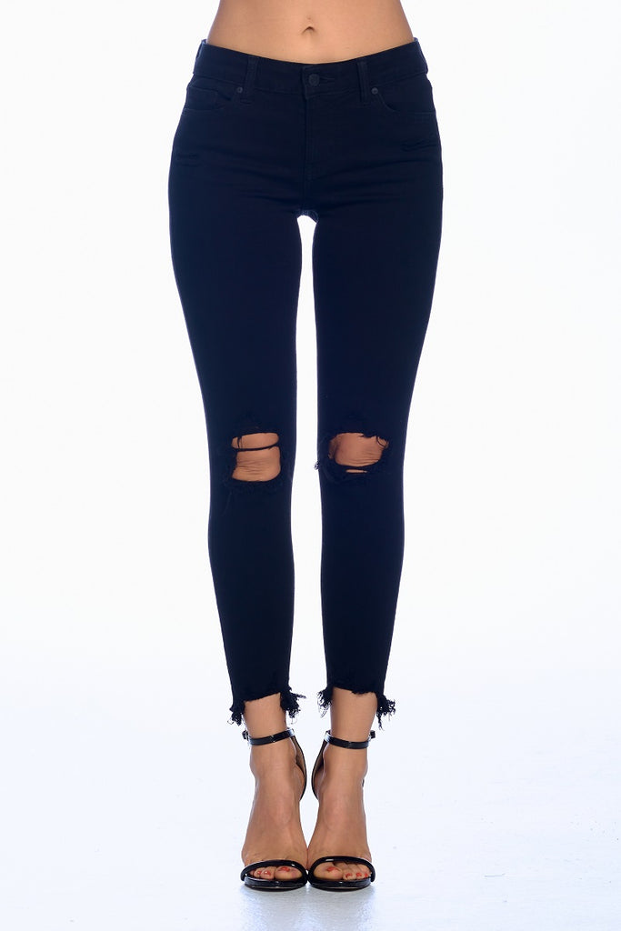 Josie Mid Rise Busted Knee Skinny Crop Front Black