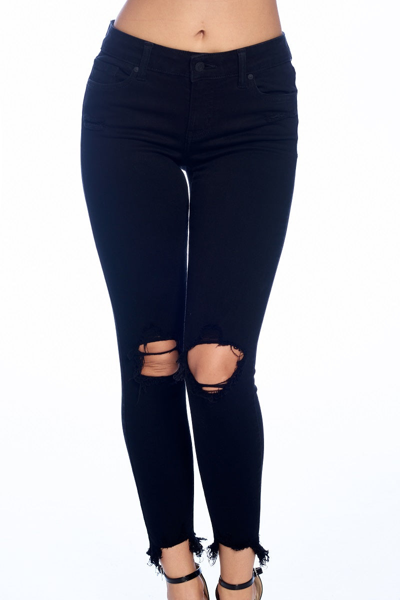 Josie Mid Rise Busted Knee Skinny Crop Up Close Front Black