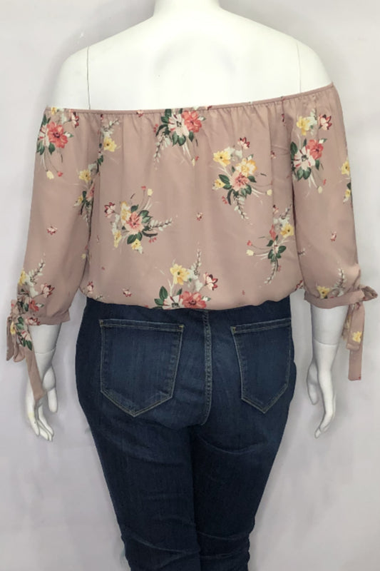 Floral Off The Shoulder Tie Sleeve Top