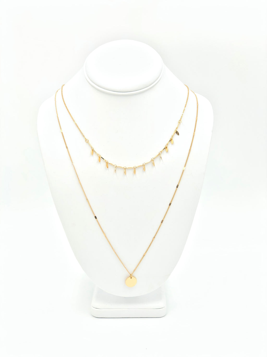Pendant Drop Disc Layered Necklace