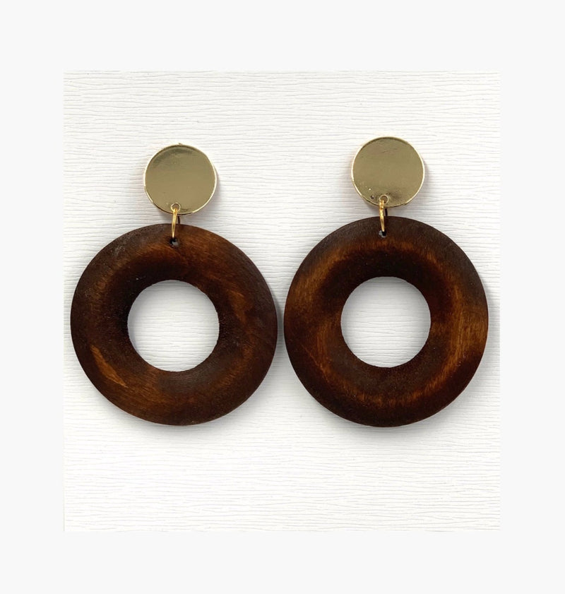 Round Wood Drop Earring