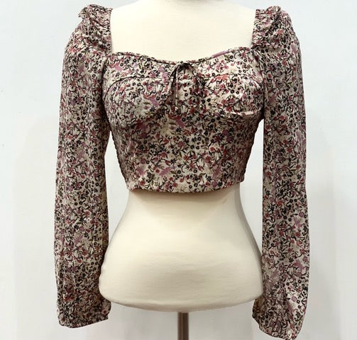 Puff Sleeve Floral Long Sleeve Crop Top