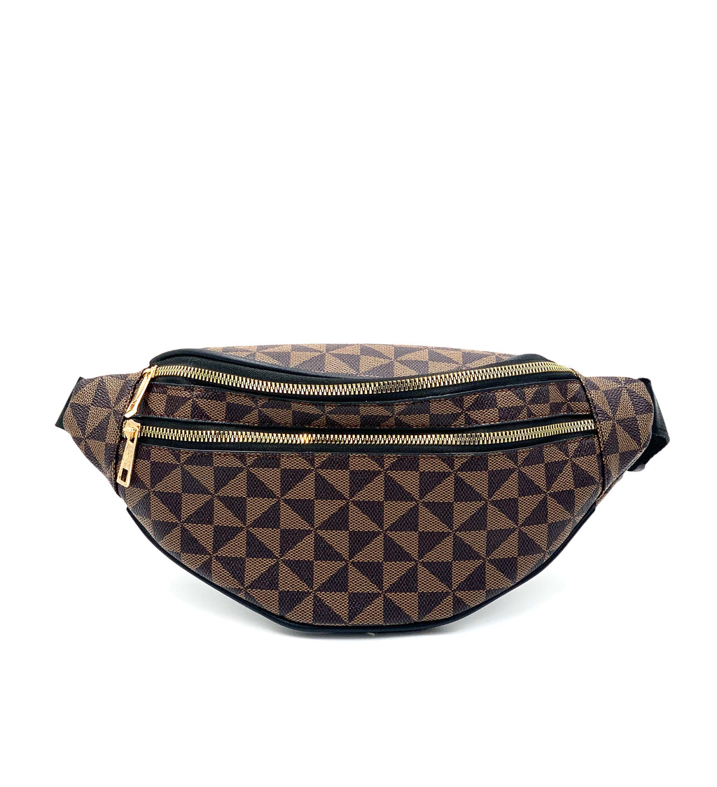 Geometric Print Pleather Fanny Pack