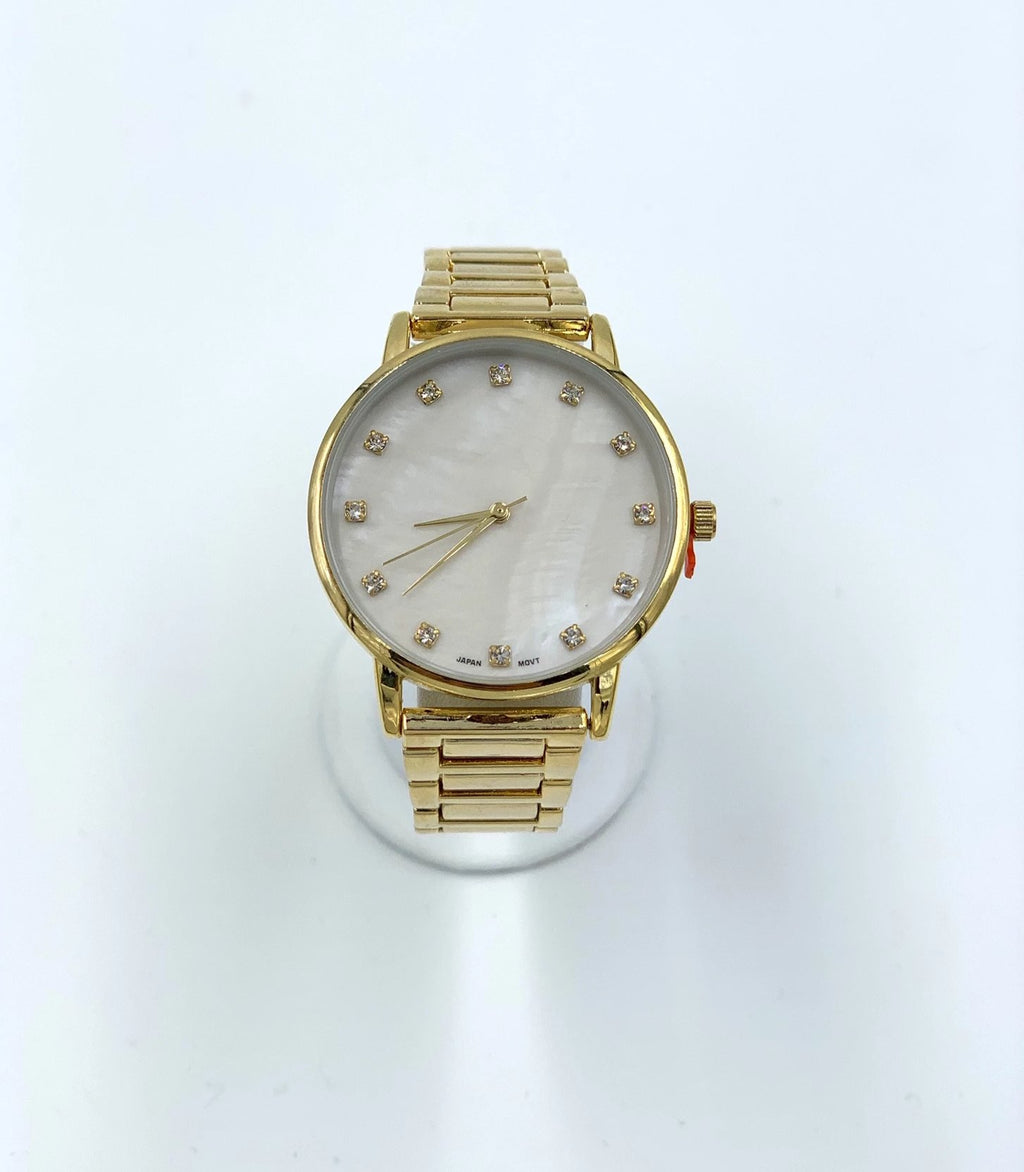 Crystal Stud Metal Strap Watch