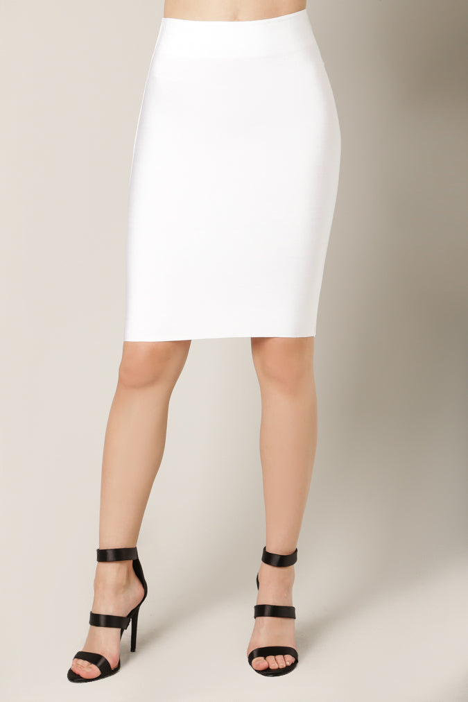 Luxe Bandage Pencil Skirt White Front