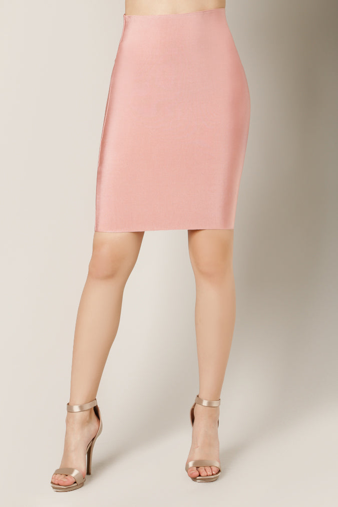 Luxe Bandage Pencil Skirt Front Pink
