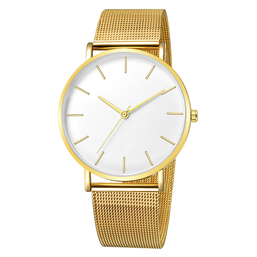 Mesh Strap Watch with White Face