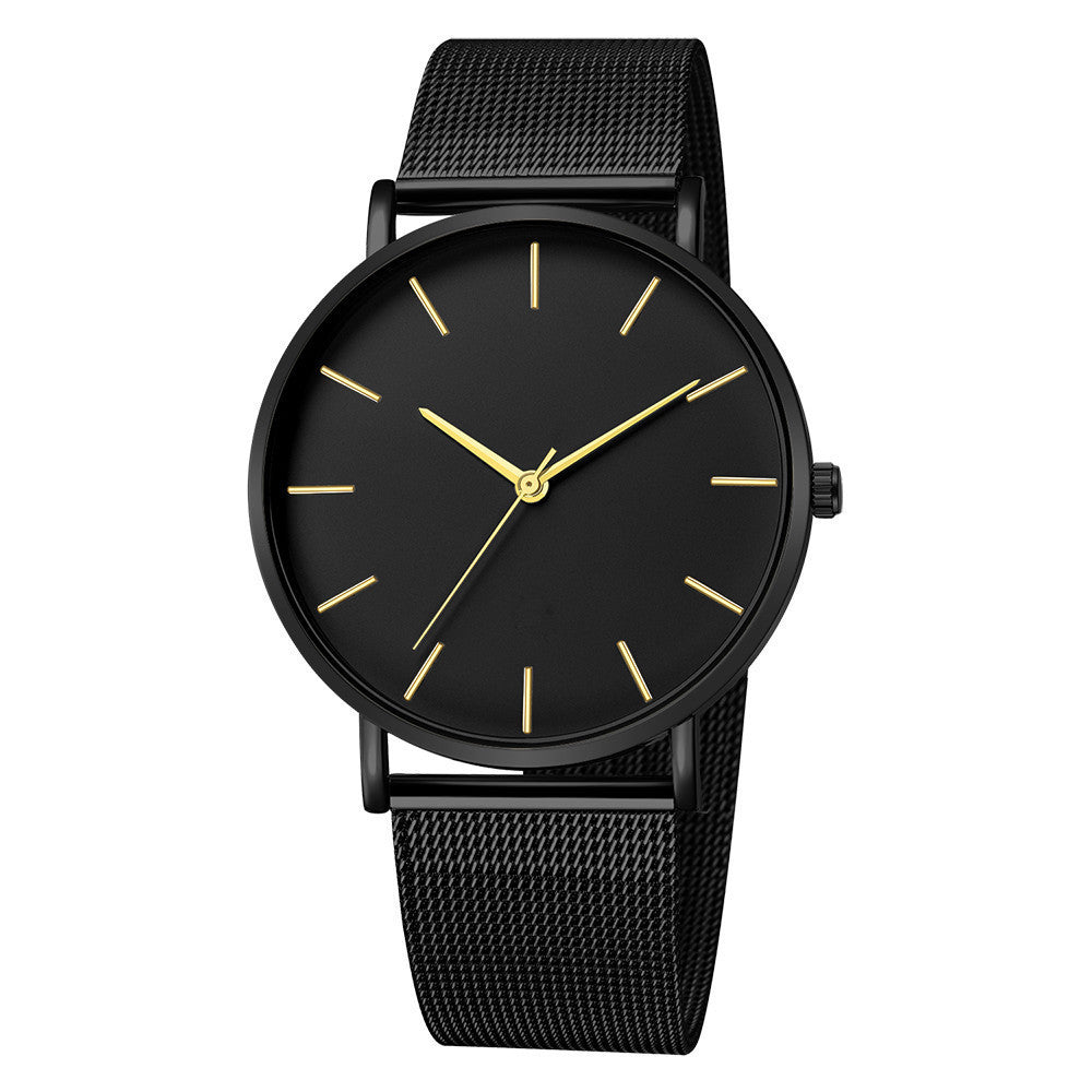 All Black Mesh Strap Watch