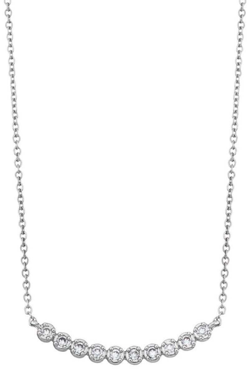 Rhinestone Curve Bar Necklace