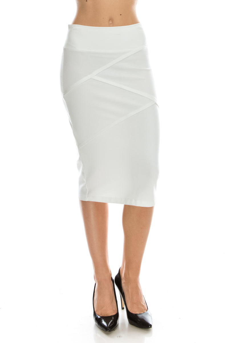 Criss Cross Detail Pencil Skirt Front White