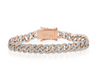 Two Tone Micro Diamond Cuban Link Bracelet White Gold and Rose Gold