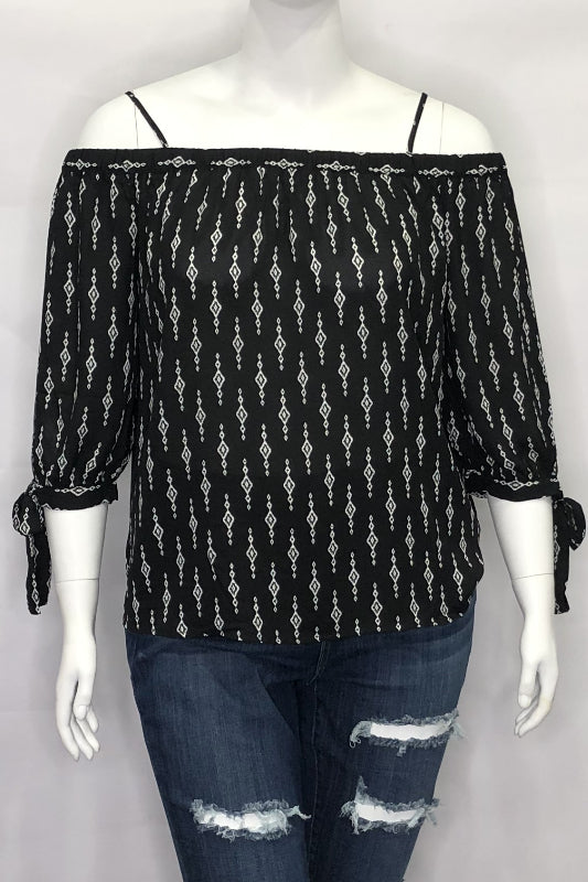Tribal Print Off The Shoulder Tie Sleeve Top