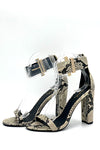 Snake Single Strap Chunky High Heel Sandal