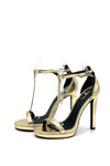 Gold T-Strap Stiletto High Heel