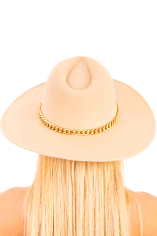 Flat Brim Hat with Chain