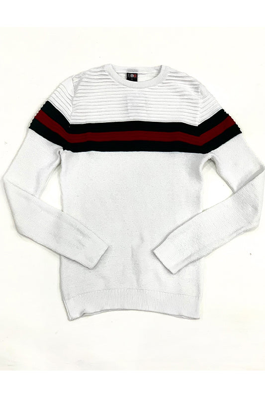 Striped Rib Knit Sweater