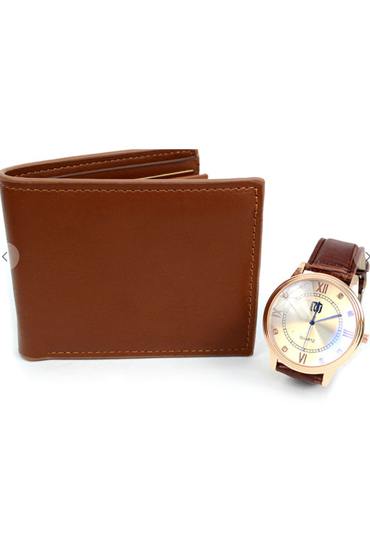 Watch and Wallet Gift Set Brown