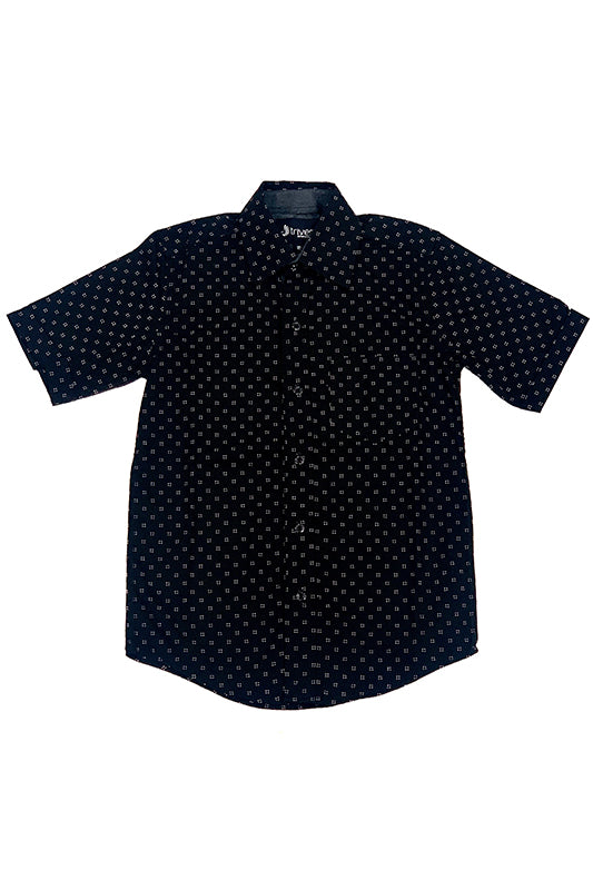 All Over Square Print Short Sleeve Button Up