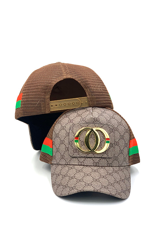 Large Double Circle Plaque Printed Snapback Hat
