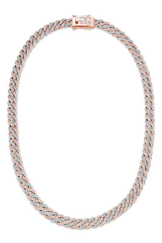 Two Tone Diamond Cuban Link Chain Necklace