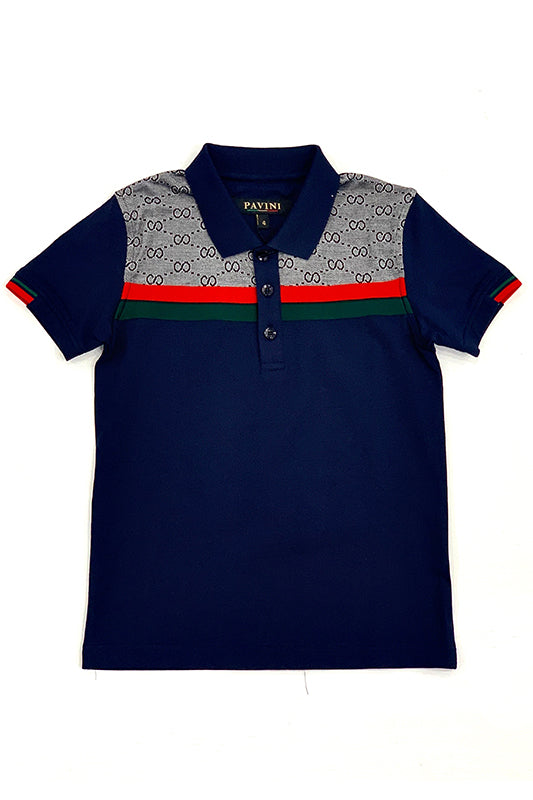 Double Circle Stripe Center Short Sleeve Polo