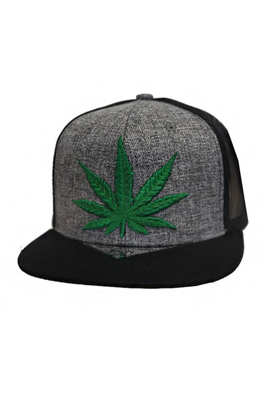 Cannabis Leaf Embroidered Snapback