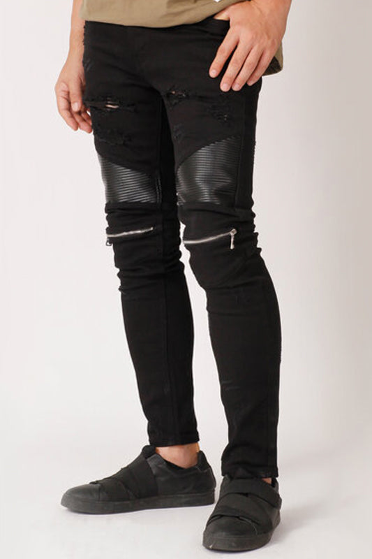 Zipped Knee Moto Style Jeans