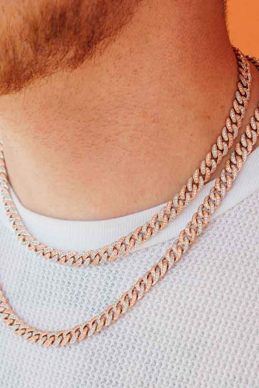 Two Tone Flooded Cuban Link Chain Necklace Rose Gold and White Gold