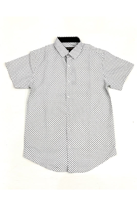 Micro Oval Dot Print Short Sleeve Button Up