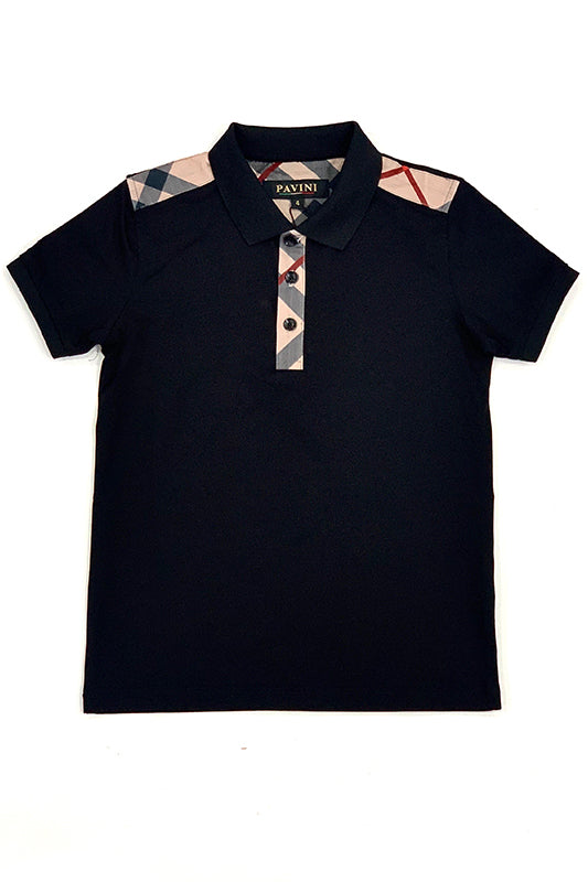 Plaid Shoulder Detail Short Sleeve Polo