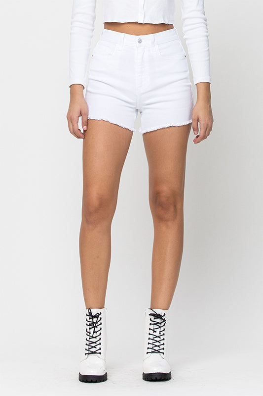 High Rise Frayed Hem Mom Short