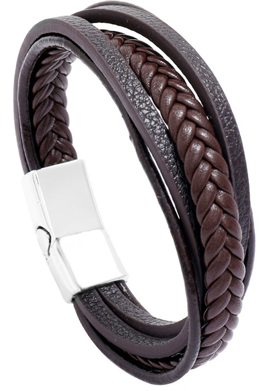 Leather Magnet Layered Bracelet
