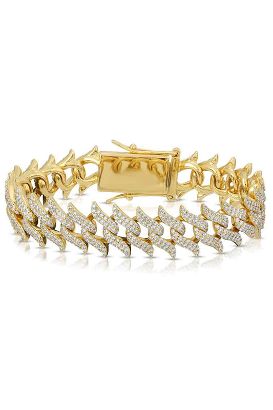 Diamond Spiked Laurel Cuban Bracelet Gold