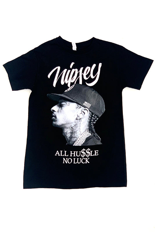"Nipsey ""All Hu$$le, No Luck"" Graphic T-Shirt"