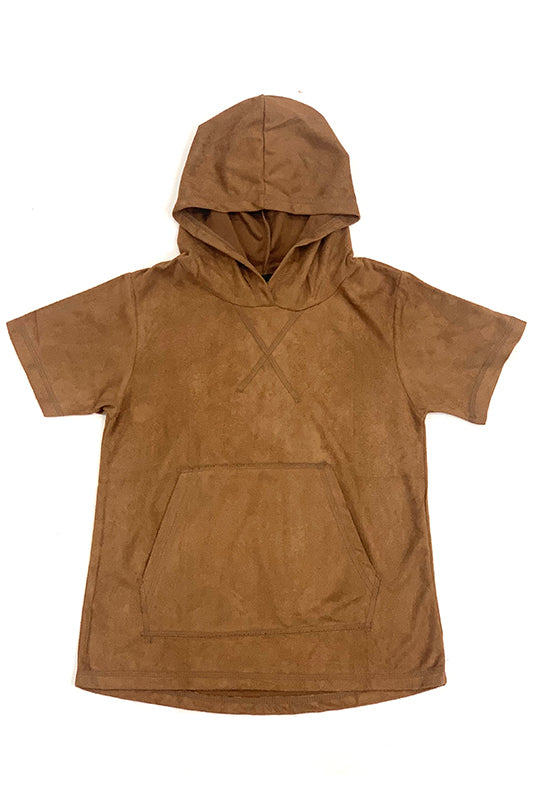 Hooded Suede Front Pocket Short Sleeve T-Shirt